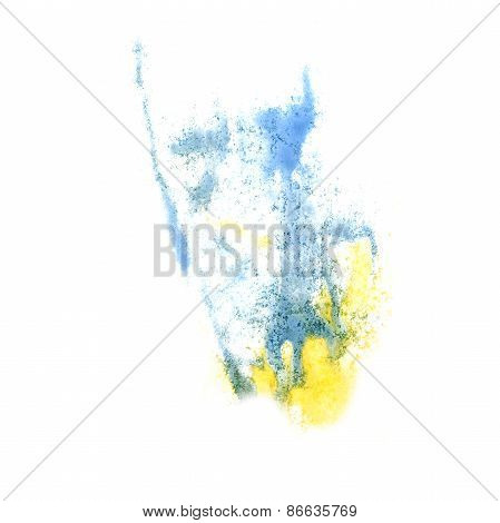Abstract yellow,blue watercolor background for your design insul