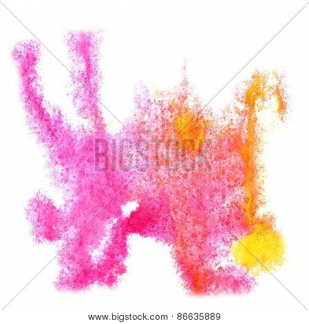 Abstract yellow,pink watercolor background for your design insul