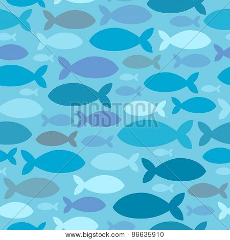 Seamless background fish silhouettes - eps10 vector illustration.