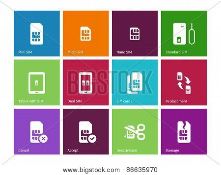 Standard and mini SIM card icons on color background.