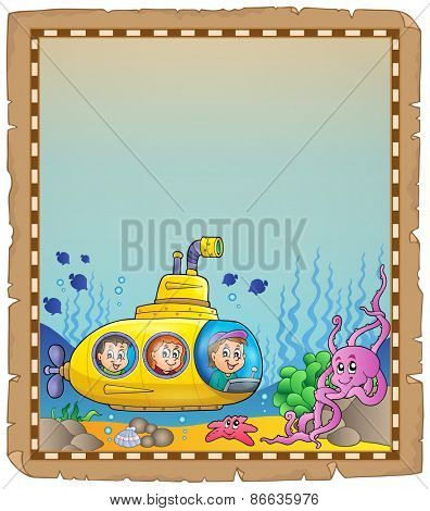 Parchment with underwater theme 7 - eps10 vector illustration.