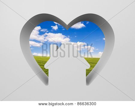Shape of heart with house and the scenery inside