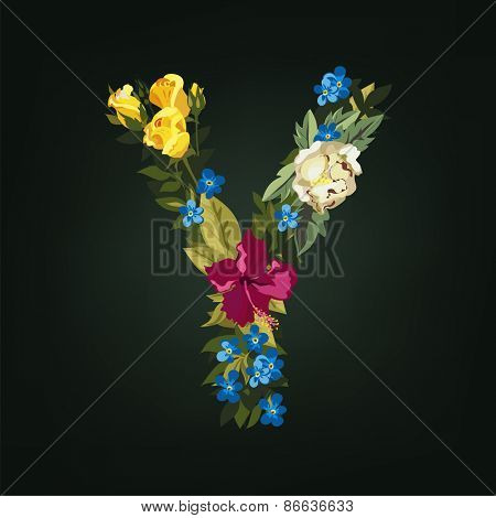 Y letter. Flower capital alphabet. Colorful font. Uppercase.  Vector illustration.
