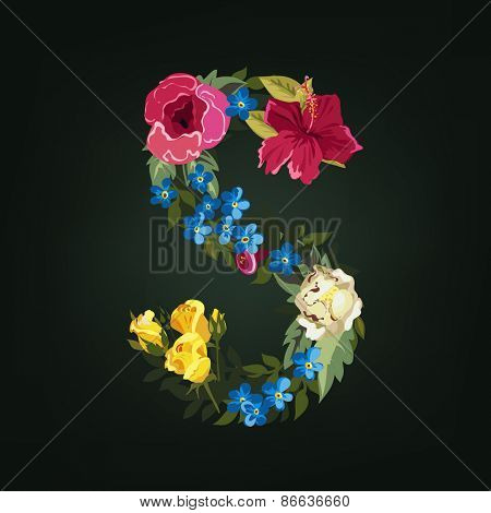S letter. Flower capital alphabet. Colorful font. Uppercase.  Vector illustration.