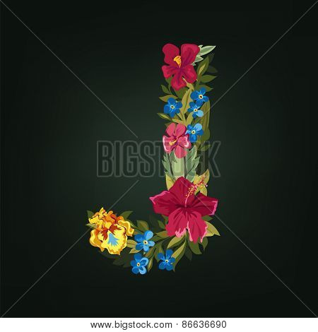 J letter. Flower capital alphabet. Colorful font. Uppercase.  Vector illustration.