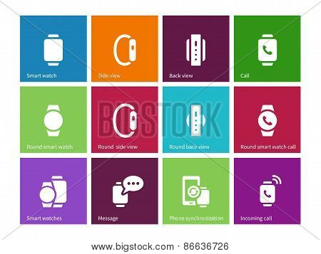 Smart hand gadget icons on color background.