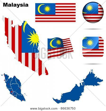 Malaysia set. Detailed country shape with region borders, flags and icons isolated on white background.