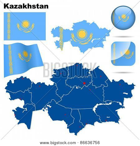 Kazakhstan set. Detailed country shape with region borders, flags and icons isolated on white background.