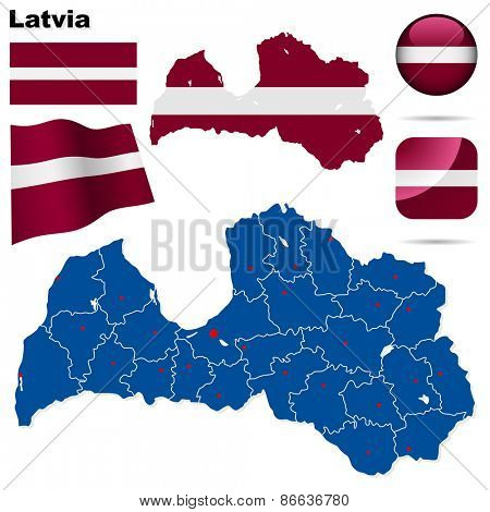 Latvia set. Detailed country shape with region borders, flags and icons isolated on white background.