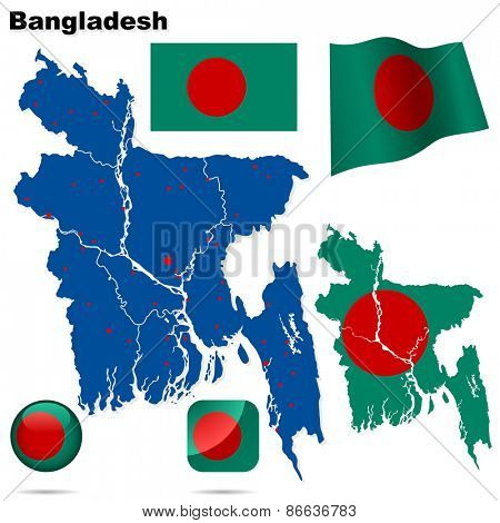 Bangladesh set. Detailed country shape with region borders, flags and icons isolated on white background.
