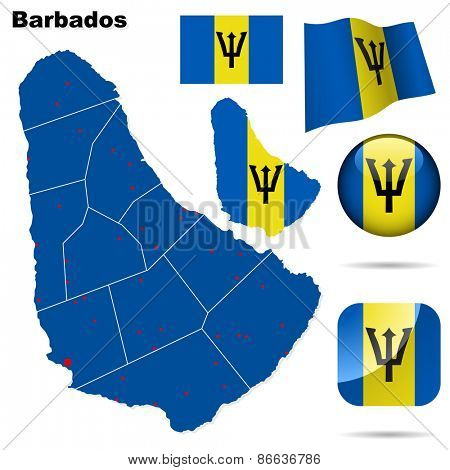 Barbados set. Detailed country shape with region borders, flags and icons isolated on white background.
