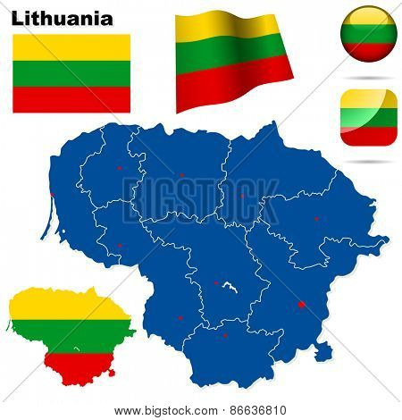 Lithuania set. Detailed country shape with region borders, flags and icons isolated on white background.
