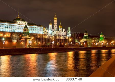 View Of Moscow Kremlin From The Moscow River At Night. Russia