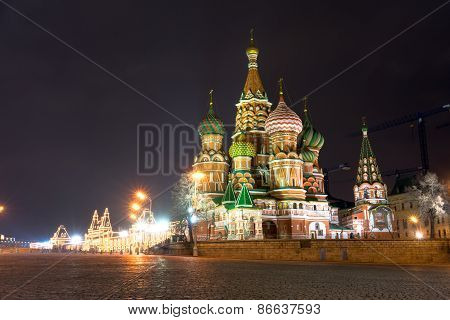 Spectacular View Of St. Basil's Cathedral At Night, Moscow, Russia