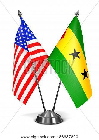USA, Sao Tome and Principe - Miniature Flags.