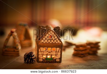 fairy Christmas house cake with candle