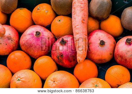 fruits and vegetables on a vegetable market