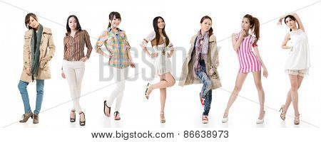 Group of pretty asian women. Isolated on white background.