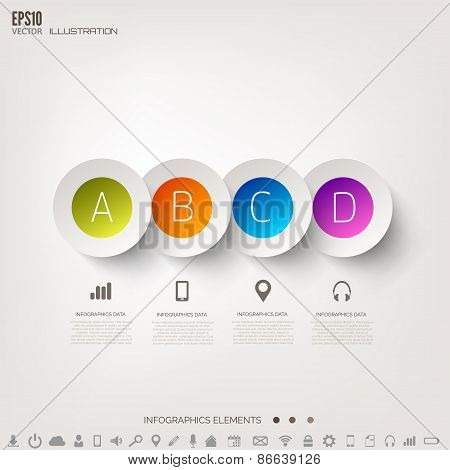 Cloud computing background with web icons. Social network. Mobile app. Infographic elements.