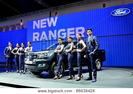 Bangkok - March 26 : New Ford Ranger, Pick Up Truck, With Male And Female Presenters On Display At 3