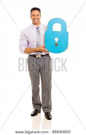 happy businessman holding lock symbol on white background