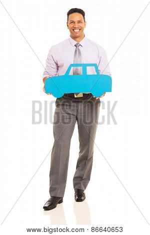 full length portrait of middle aged man holding blue paper car