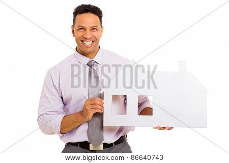 portrait of happy man showing house symbol on white background
