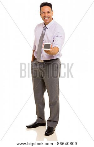 friendly mid age businessman giving smart phone isolated on white