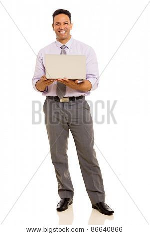 middle aged businessman holding laptop isolated on white background