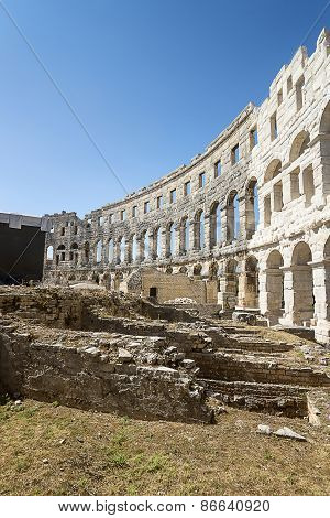 A Fragment Of Antique Roman Amphitheater In Pula
