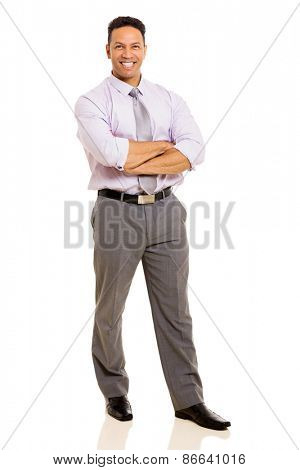 handsome mid age businessman standing on white background