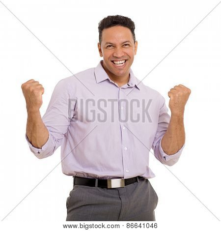 cheerful middle aged man holding fists on white background