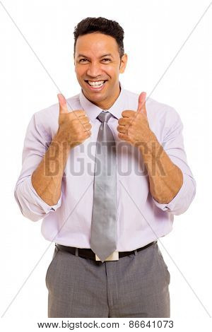excited business man giving thumbs up on white background