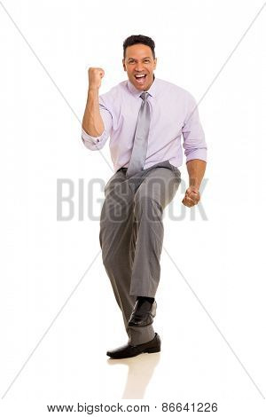 successful mature business man waving fists isolated on white