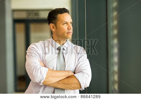 thoughtful mature businessman looking outside office window