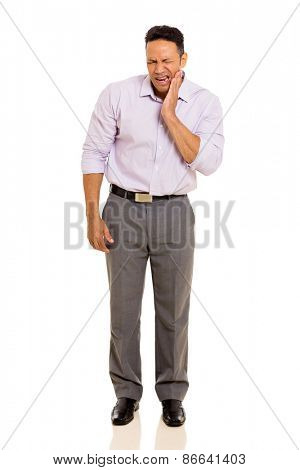 handsome man having toothache isolated on white background