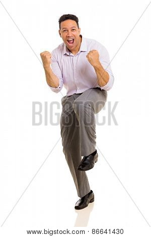 excited middle aged man waving fists on white background