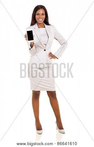 african woman presenting smart phone over white background