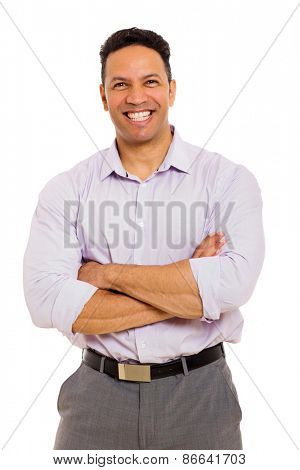handsome middle aged businessman with arms folded