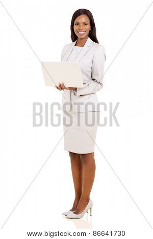 portrait of happy young african businesswoman with laptop