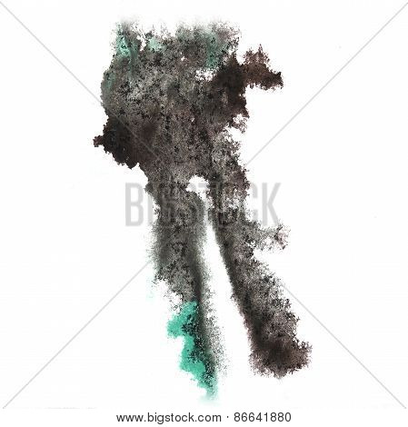 abstract gray hand drawn watercolor blot insult Rorschach psycho