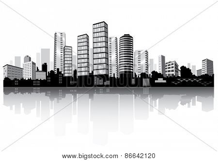 City panorama with reflection. Buildings silhouettes. Vector.