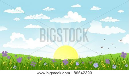 Vector illustration of beautiful landscape. Rural scene with green field and bright sun on a summer morning