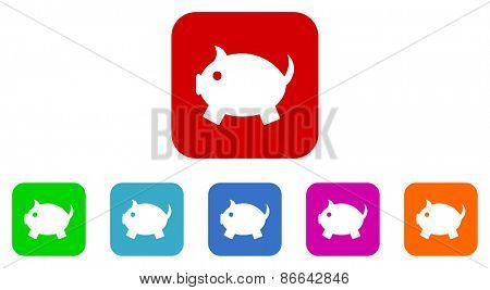 piggy bank vector icons set