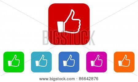 thumb up vector icons set
