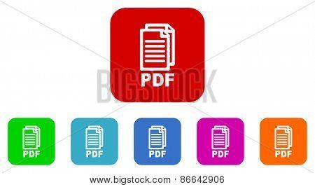 pdf vector icons set