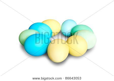Colored Easter Eggs Laying In Circle