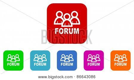 forum vector icons set