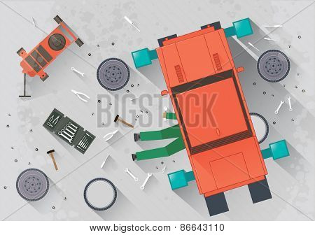 Mechanic repairing the car in the garage Vector illustration in flat style
