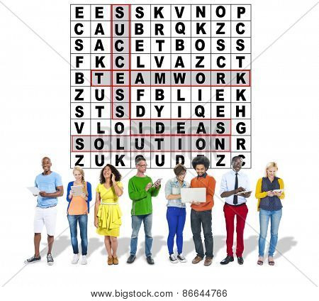 Success Crossword Puzzle Words Achiement Game Concept